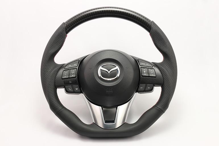 ケンスタイルカーボン/レザーコンビステアリングforアクセラ/デミオ/CX-3/CX-5