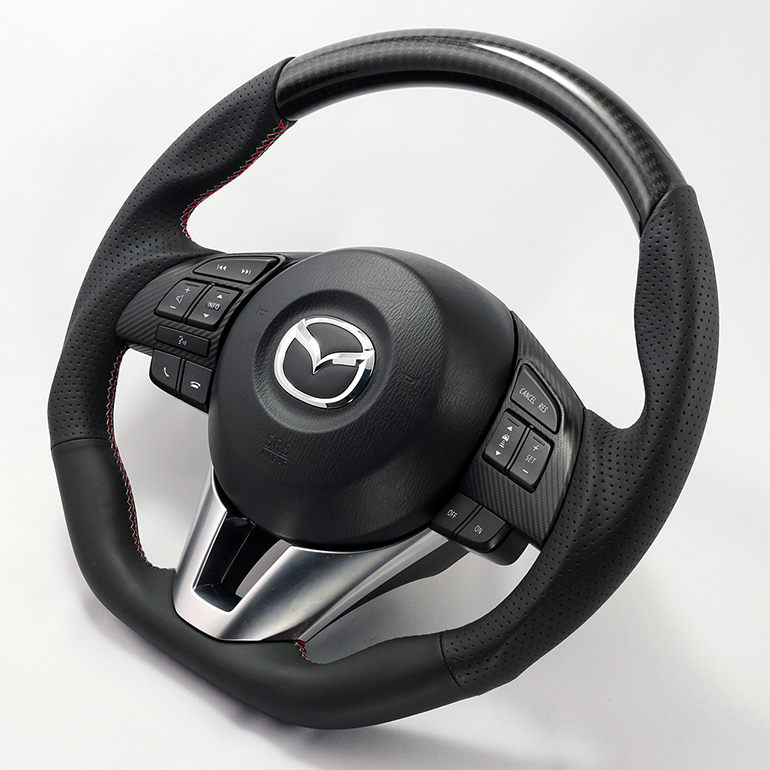 CX-3用ケンスタイルオリジナルステアリングカーボン/レザーコンビ