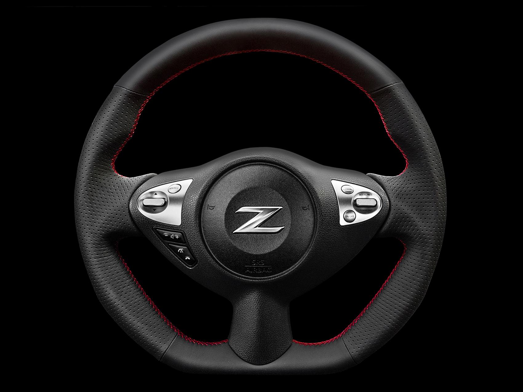 ケンスタイルオリジナルステアリング|フェアレディZ(Z34)オールブラックレザー