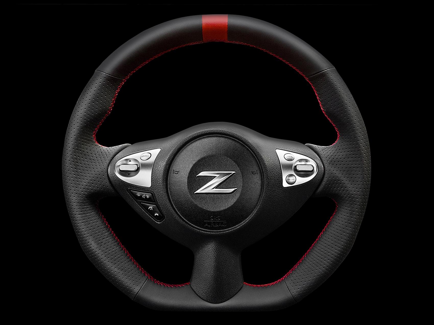ケンスタイルオリジナルステアリング|フェアレディZ(Z34)ブラックレザーレッドライン